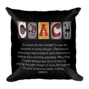Cheerleading Coach Letter Art Pillow Bible Verse