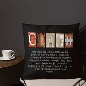 Football Coach Letter Art Pillow Bible Verse