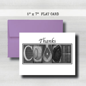 Baseball Coach Thank You Card ~ Flat Cards ~ Black & White