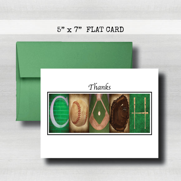 Baseball Coach Thank You Card ~ Flat Cards