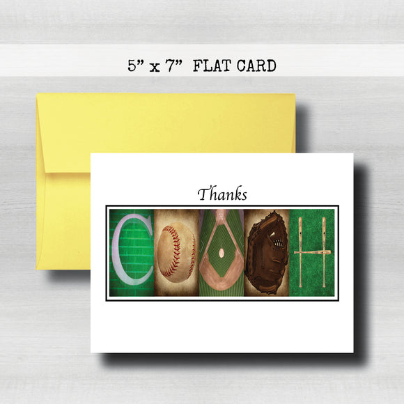 Baseball Coach Thank You Card~ Cards ~ Flat Cards