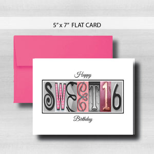 Sweet 16 Birthday Card ~ Flat Cards ~ Pink & Black