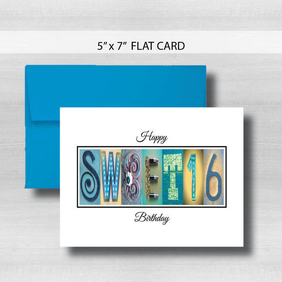 Sweet 16 Birthday Card ~ Flat Cards ~ Blue Gold