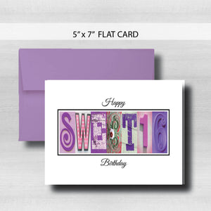 Sweet 16 Birthday Card ~ Flat Cards ~ Pink & Lavender