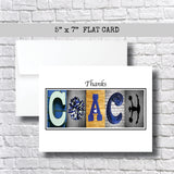 Cheerleading-Blue Coach Thank You Card~ 3 Cards ~ Flat Cards
