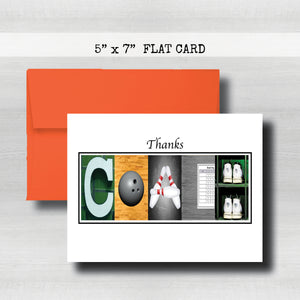 Bowling Coach Thank You Card~ Cards ~ Flat Cards