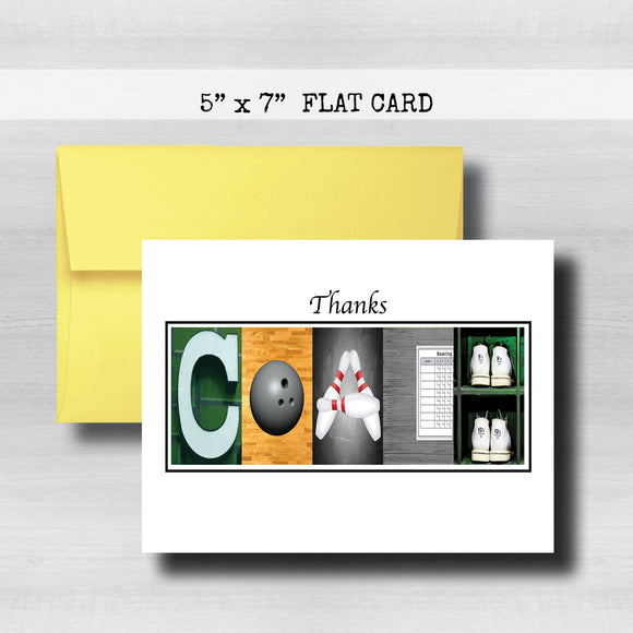Bowling Coach Thank You Card ~ Flat Cards