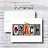 Cheerleading-Red Coach Thank You Card~ 3 Cards~ Flat Cards