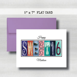 Personalized Sixteen Birthday Card ~ Flat Cards ~ Blue & Red