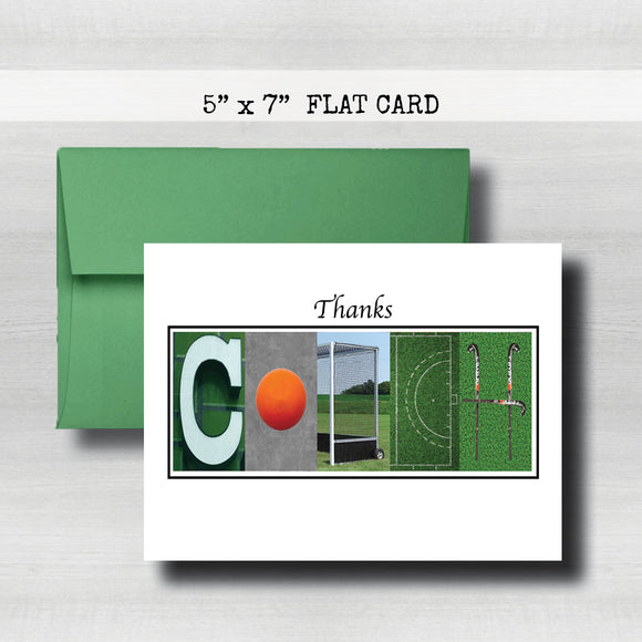 Field Hockey Blue Coach Thank You Card~ Cards ~ Flat Cards