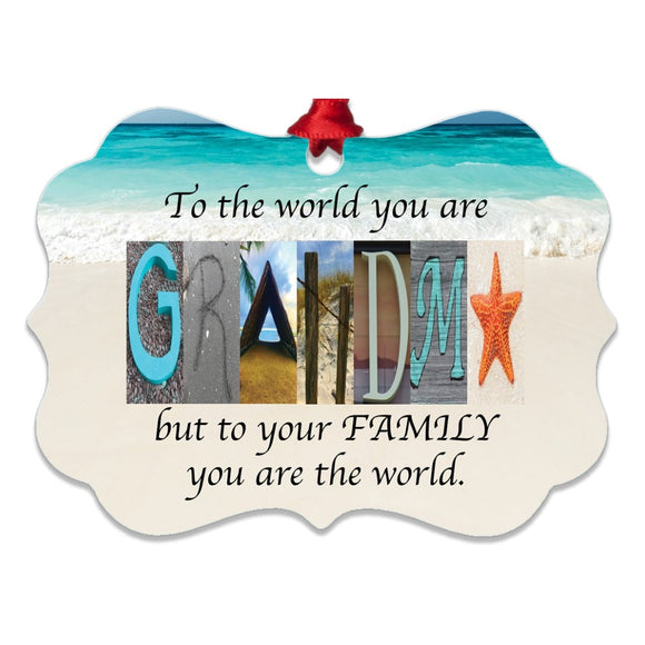 Grandma Beach Letter Art Name Ornament Metal