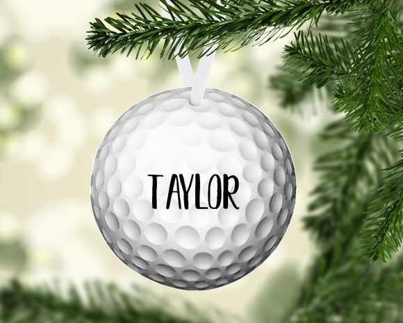Golf Christmas Ornament Metal