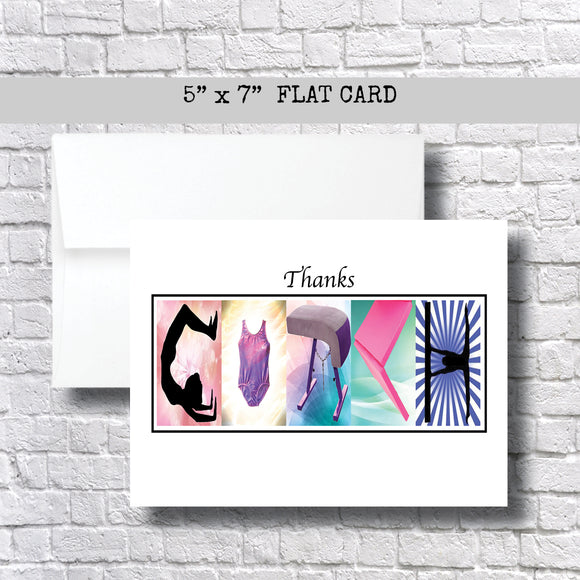 Gymnastic Coach Thank You Card~ 1 Card ~ Flat Cards