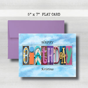 Birthday Card ~ Flat Cards ~ Aqua, Blue & Purple