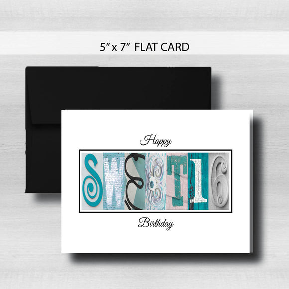 Sweet 16 Birthday Card ~ Flat Cards ~ Teal Silver Black