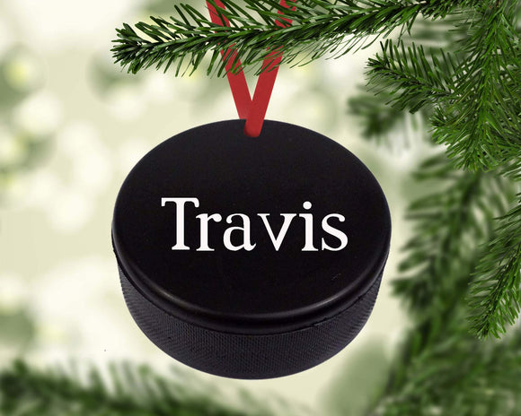 Hockey Puck Christmas Ornament Canvas
