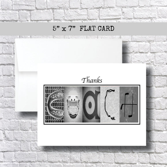 Hockey Grey Coach Thank You Card~ Cards ~ Flat Cards