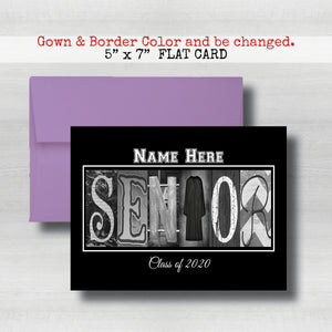 Personalized Black Background Senior Graduation Card Class of 2021