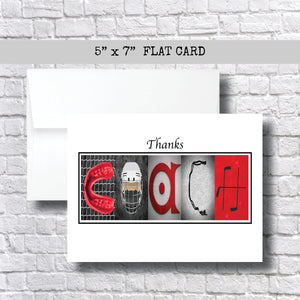 Hockey Red Coach Thank You Card~ Cards ~ Flat Cards