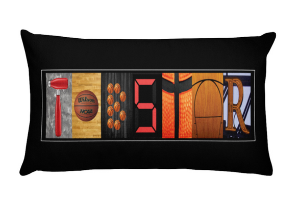 Basketball Name Letter Art Pillow Custom