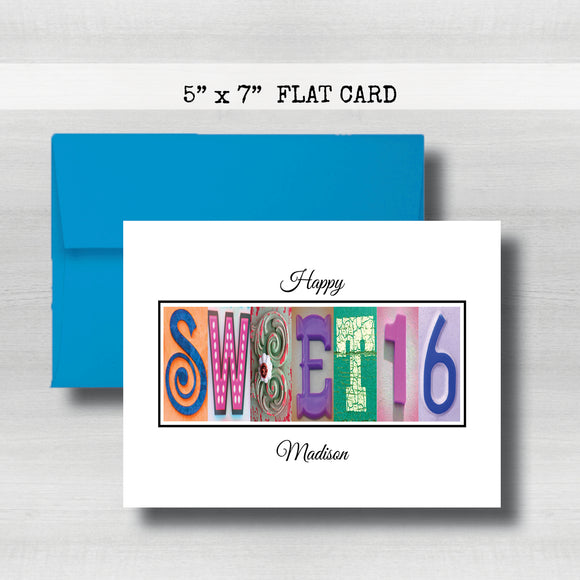 Personalized Birthday Card ~ Flat Cards ~ Orange, Blue, Pink