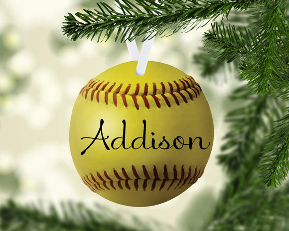 Softball Christmas Ornament Metal