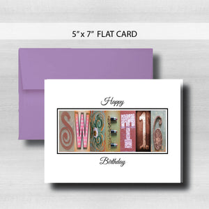 Sweet 16 Birthday Card ~ Flat Cards ~ Rose Gold
