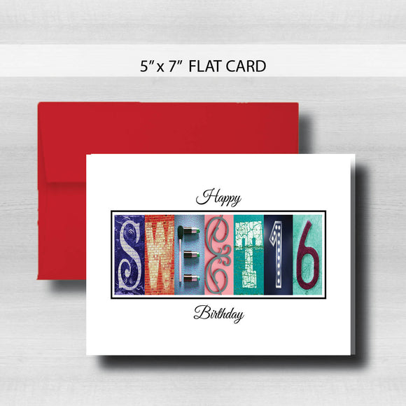 Sweet 16 Birthday Card ~ Flat Cards ~ Bold Colors