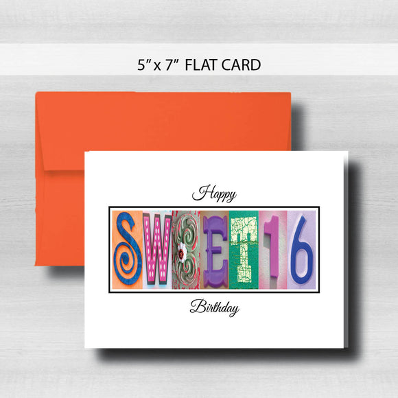 Sweet 16 Birthday Card ~ Flat Cards ~ Bright Colors