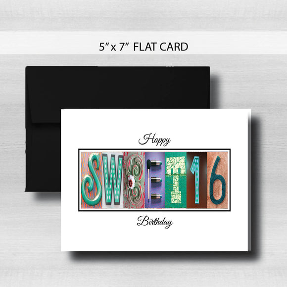 Sweet 16 Birthday Card ~ Flat Cards ~ Teal Rose Gold