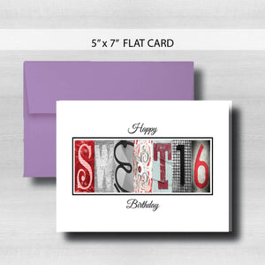 Sweet 16 Birthday Card ~ Flat Cards ~ Red Black