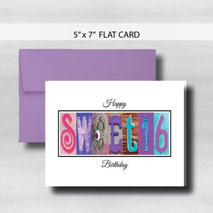 Sweet 16 Birthday Card ~ Flat Cards ~ Aqua, Blue & Purple