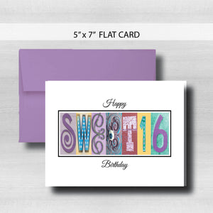 Sweet 16 Birthday Card ~ Flat Cards ~ Pastel
