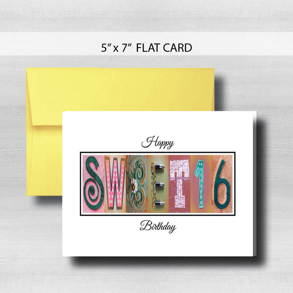Sweet 16 Birthday Card ~ Flat Cards ~ Pink Gold