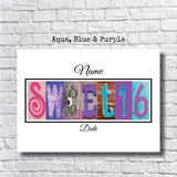 Sweet 16 Party-Aqua, Blue & Purple