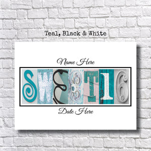 Sweet 16 Party Teal, Black, and White
