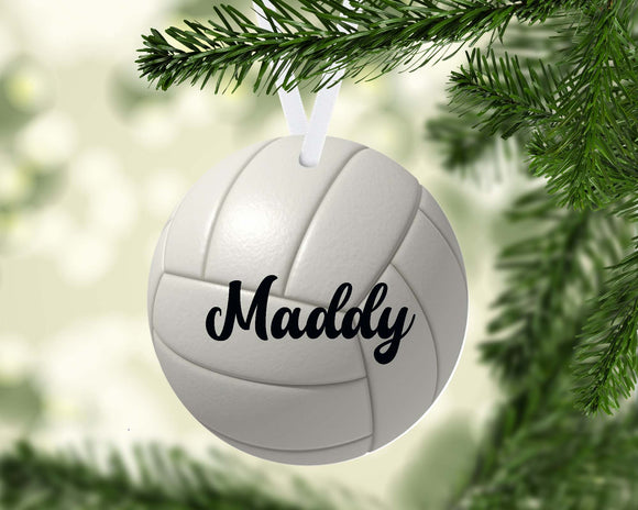 Volleyball Christmas Ornament Metal