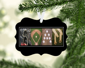 baseball letter art name ornament