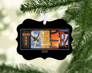 Basketball Letter Art Name Ornament Metal