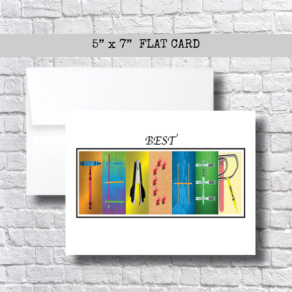 Best Teacher Thank You Card~ 1 Card ~ Flat Cards ~ 5