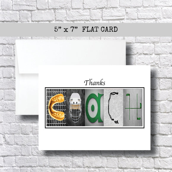 Hockey Green Gold Coach Thank You Card~ 1 Card ~ Flat Cards