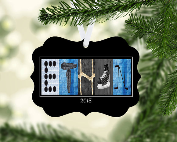 Hockey Letter Art Name Ornament Metal
