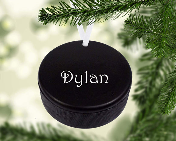 Hockey Puck Christmas Ornament Metal
