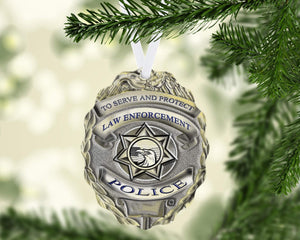 police officer name ornament metal - Police Officer Christmas Decorations