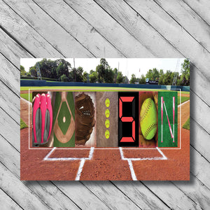 Softball Letter Art softball field