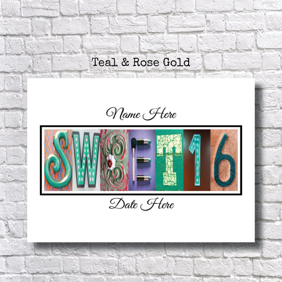 Sweet 16 Party Teal And Rose Gold