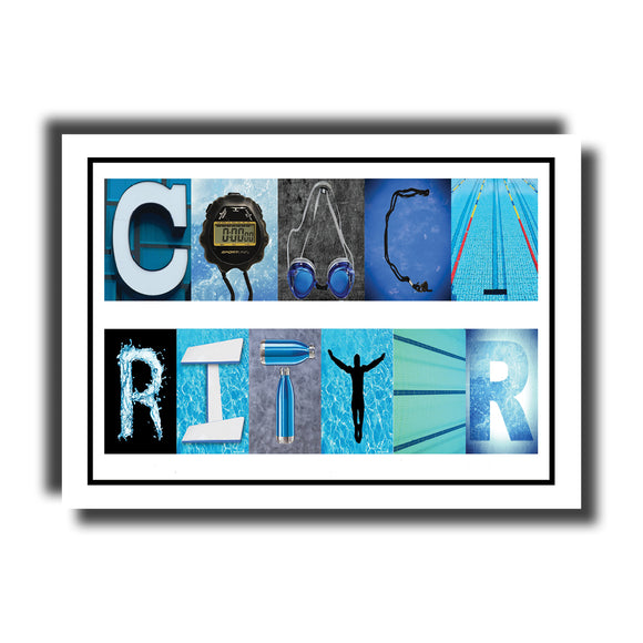 Swimming Coach Name Letter Art