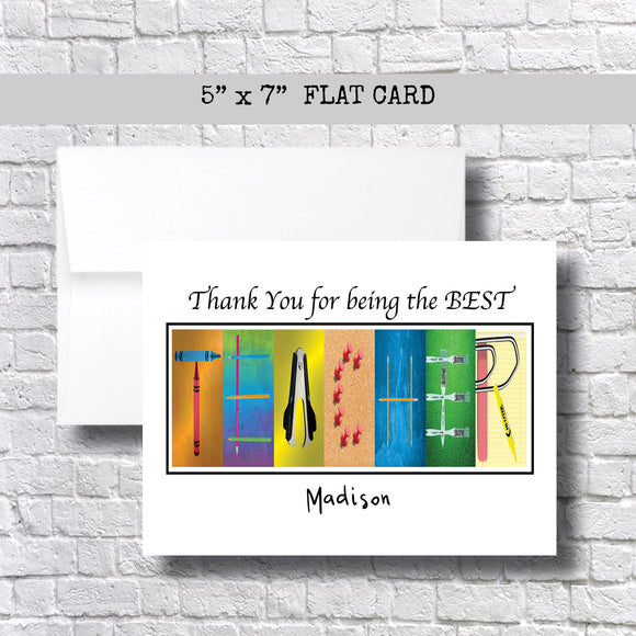 Thank You for Being the Best Teacher~ 1 Card ~ Flat Cards ~ 5