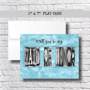 Will you be my Maid of Honor Card~ Card ~ Flat Cards- Teal/Aqua