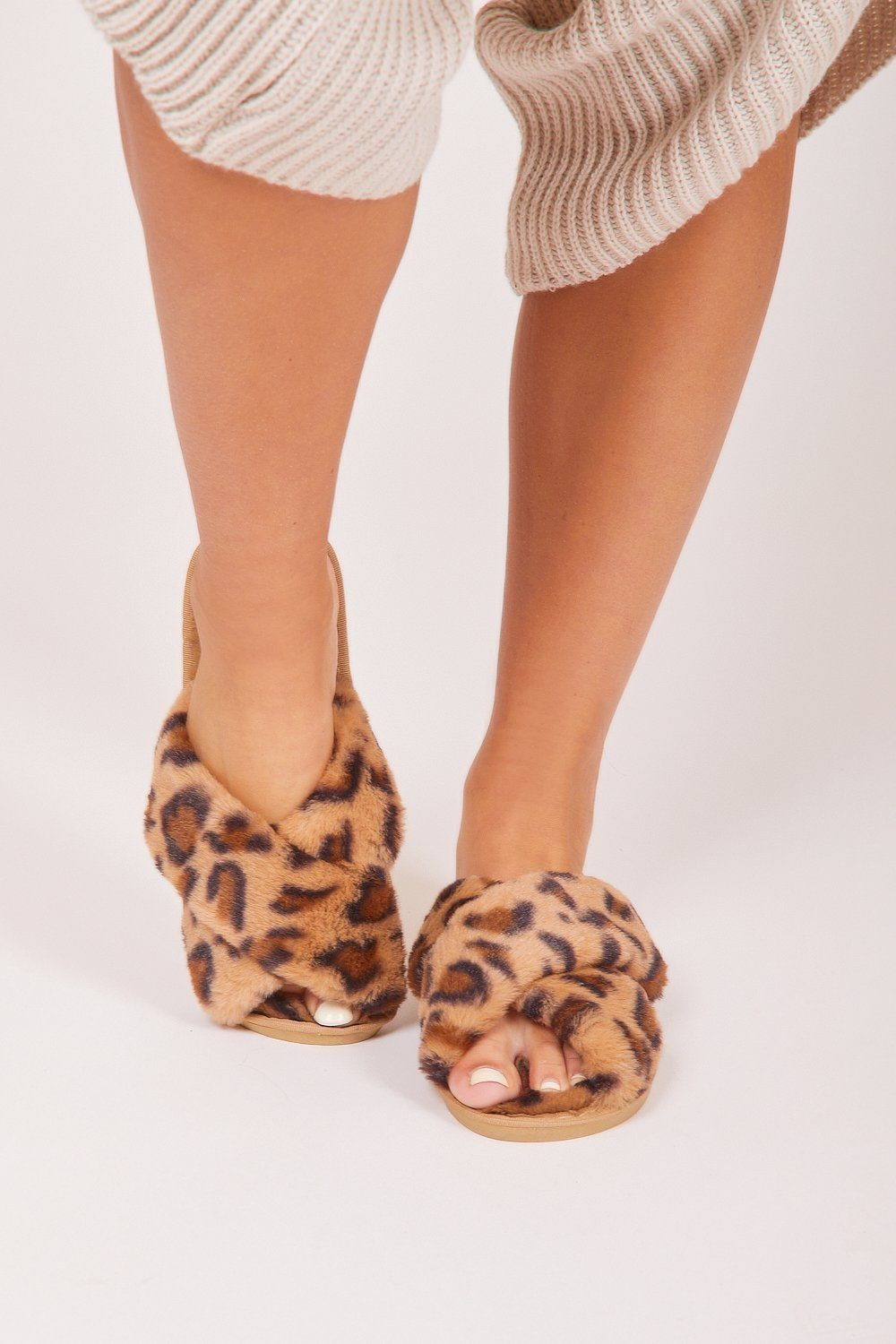 Leopard Print Fluffy Slippers - Charminique
